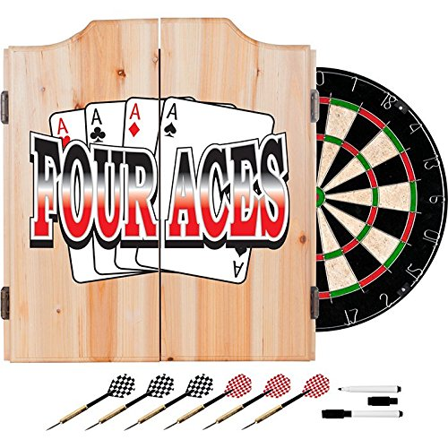- 4 Aces Poker Design Deluxe Solid Wood Cabinet Complete Dart Set