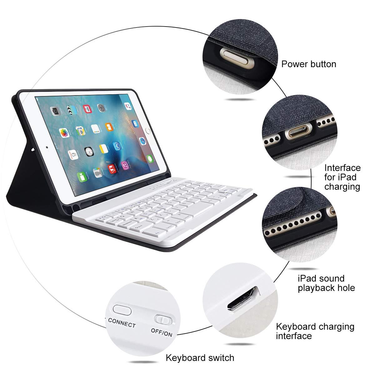 Lettre /Ñ HOTLIFE /Étui avec Clavier pour iPad Mini 5 Bluetooth sans Fil Ultra l/éger pour iPad Mini 5 avec Vision Multi-Angle Noir /étui magn/étique avec Fente pour Stylet et Clavier Espagnol