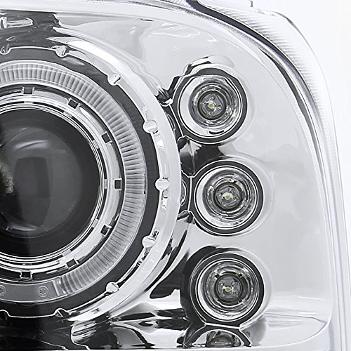 Spec-D Tuning 2LHP-F25099-TM Ford F250 F350 Led Chrome Clear Projector Halo Head Lights by Spec-D Tuning (Image #5)