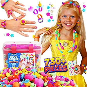 Best Epic Trends 615FqS4QbjL._SS300_ Snap Pop Beads for Girls – 730pcs Kids Jewelry Making Kit by Blue Squid, Pop-Bead Art and Craft Kit DIY Necklace…