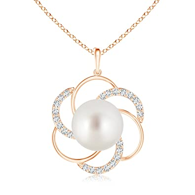 Angara South Sea Cultured Pearl Pendant with Diamond-Encrusted Loop; Pearl Pendant & Pearl Necklace viblchyIYn