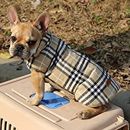 Kuoser Cozy Waterproof Windproof Reversible British style Plaid Dog Vest Winter Coat Warm Dog Apparel for Cold Weather Dog Jacket for Small Medium Large dogs with Furry Collar (XS - 3XL ),Beige S