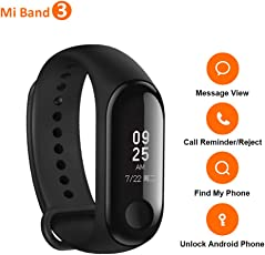 Mi Band 3 Wristband, 0.78 Inch OLED Touch Screen, Heart Rate Monitor Fitness Tracker, Alarm Clock, iPhone Android Smart Phone Call Reminder