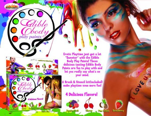Gift Set Of Edible Body Play Paints And Fetish Fantasy Series Furry Love Cuffs - Black by Hott Products
