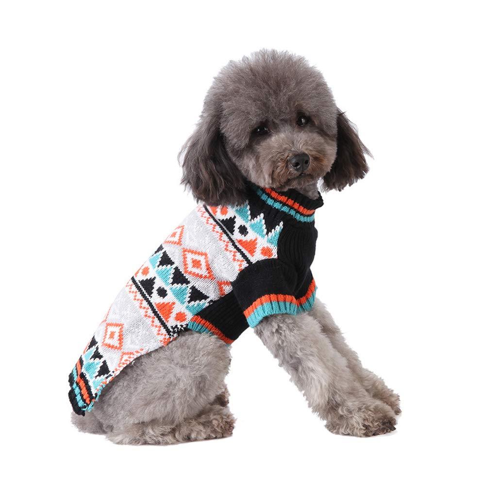XL Cuteboom Pet Plaid Sweater Dog Winter Knitwear Warm Costume Geometric Patterns Sweatshirt for Small Dog Cat Puppy(XL)