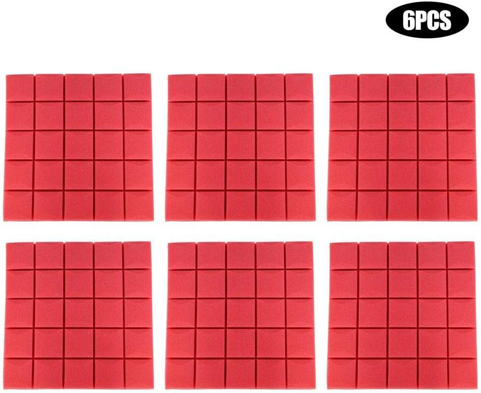 5cm 6Pcs Panneaux acoustiques en Forme de Damier Mat/ériau en polyur/éthane Insonorisant Insonorisation Mousse de Coton Mat/ériau dabsorption Acoustique 50 50 Rouge