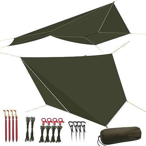 Tarp 1210ft Hammock Rain Fly Tarp Shelter Silnylon 4000mm Guyline Stakes Tensio