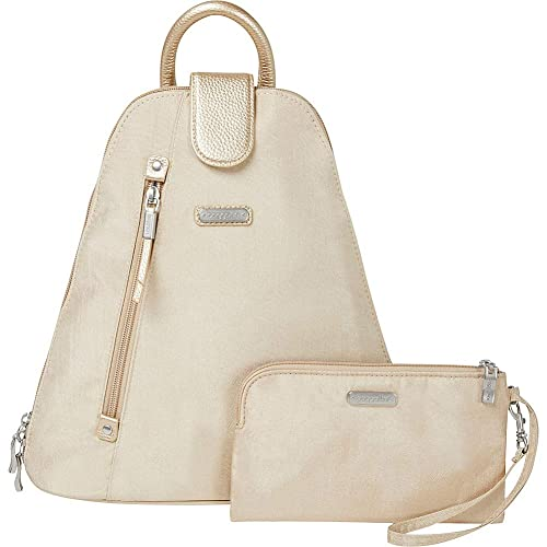 5f272863dc Baggallini Women s Metro Backpack with RFID Phone Wristlet Champagne  Shimmer One Size