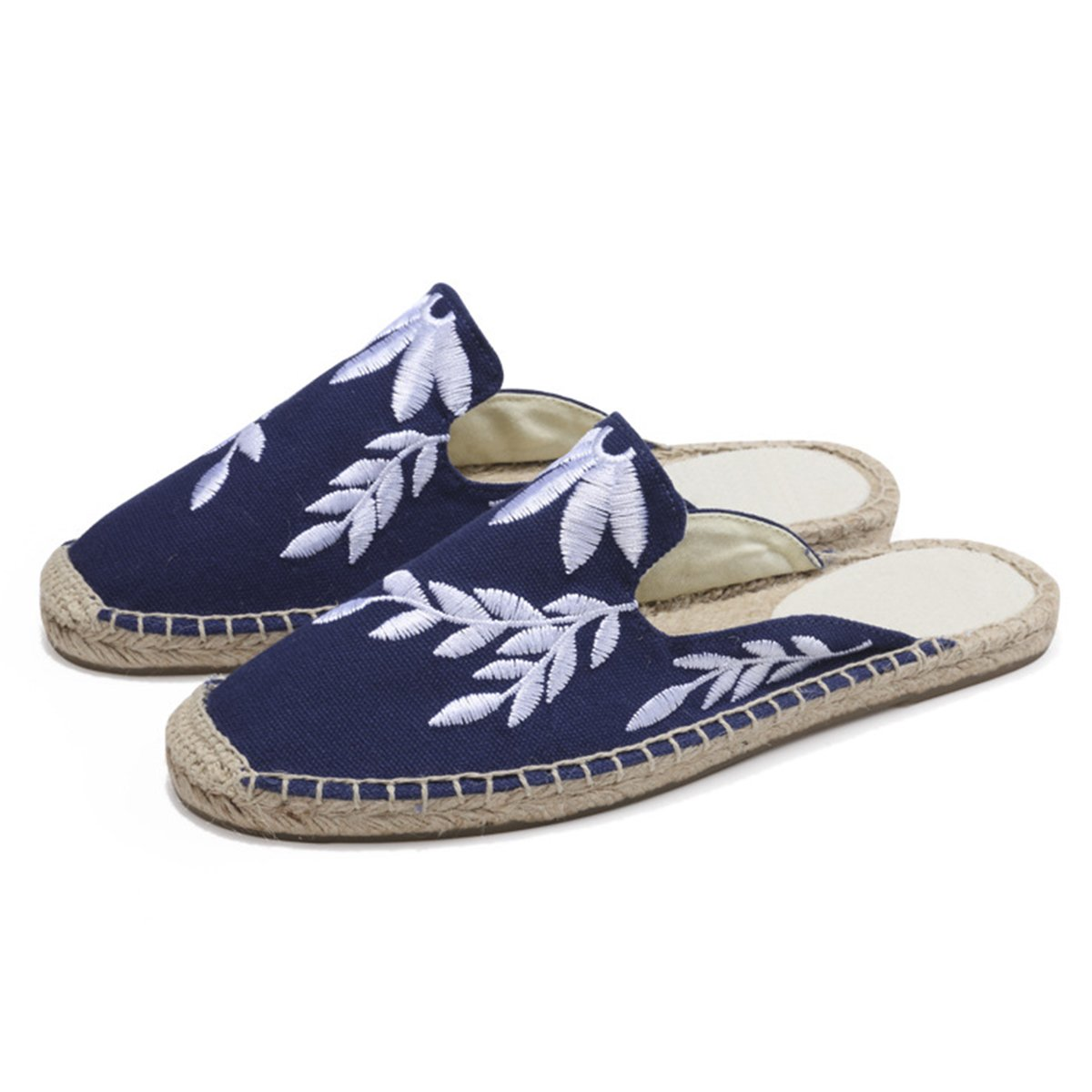 LaRosa Women's Stylish Embroidery Leaf Flat Espadrilles,Blue,7 B(M)
