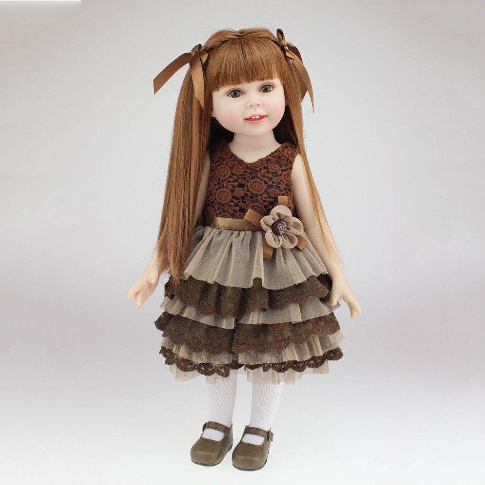 QXMEI Cute Toy Girl Reborn Soft Puppe 18 Zoll 45 cm Realistische Braun Dress Recycled Doll