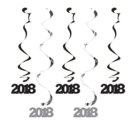 Creative Converting 324387 60-Count Dizzy Danglers Hanging Decorations 2018 Silver and Black