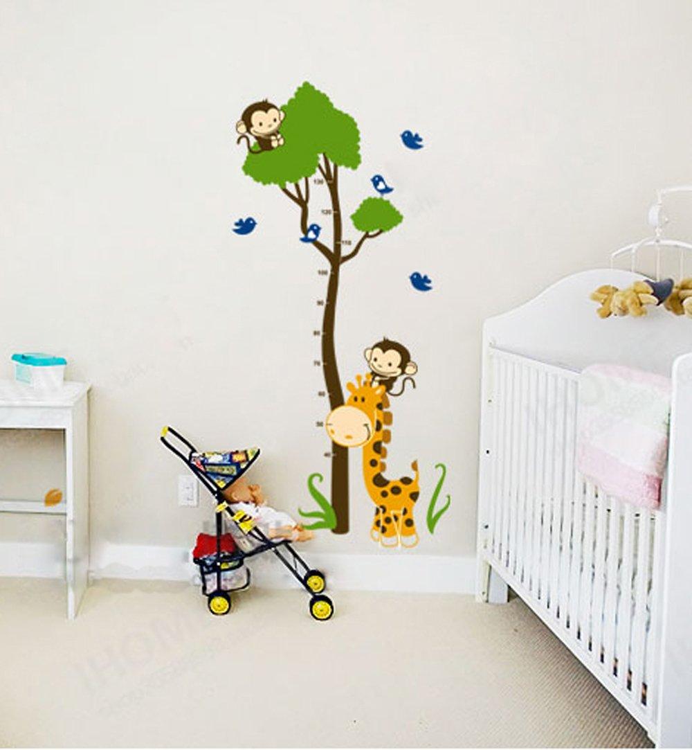 ufengke® Green Tree Cute Monkey Giraffe Birds Height Chart Decals, Children's Room Nursery Removable Wall Stickers Murals Ufingo UF-WLJ038