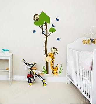 ufengke® Grünen Baum Niedlichen Affen Giraffe Vögel Messlatten ...