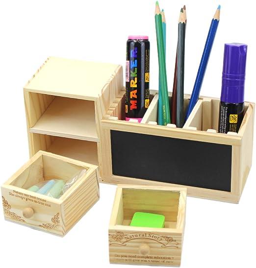 Bolígrafo de madera creativo caja estuche organizador soporte Mini pizarra para tiza NoteBoard: Amazon.es: Oficina y papelería