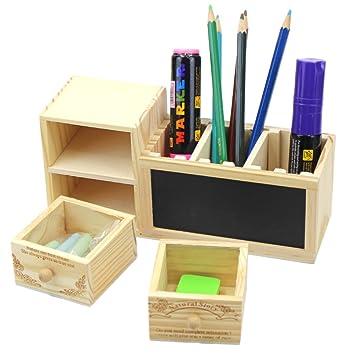 Bolígrafo de madera creativo caja estuche organizador ...