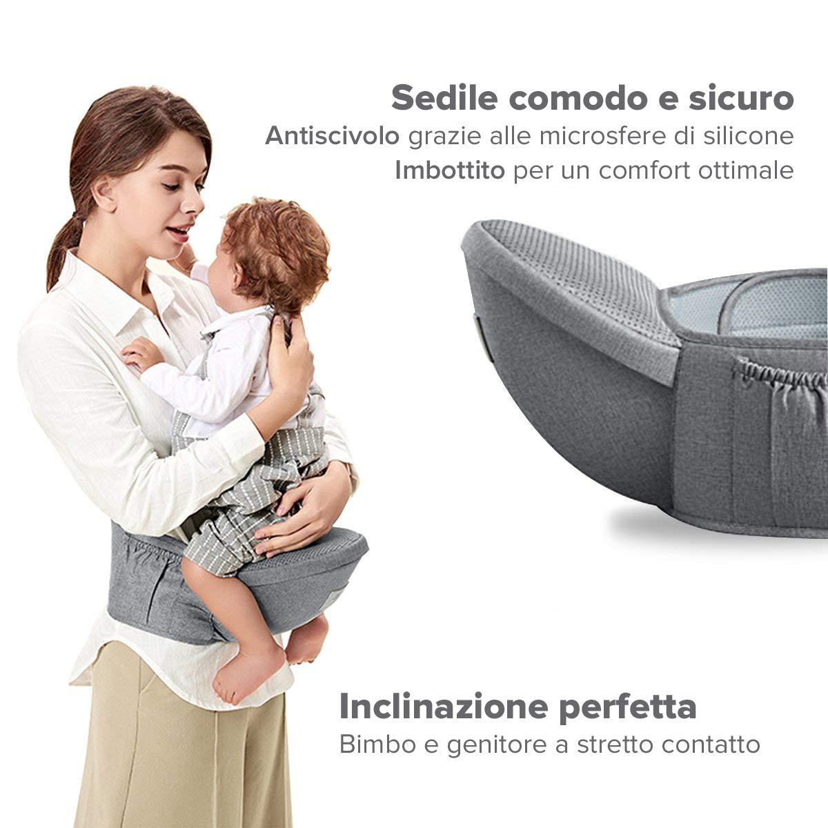 Flok - Babytrage Ergonomische Babytrage 0 36 Monate mit abnehmbarem Sitz und abnehmbarer Kapuze. Evolutionär, verstellbar und atmungsaktiv. Multiposition, Front, Back und Street Front (Grigio)