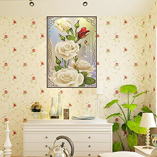 Diamond Painting Kits for Adults Kids,5D DIY Full Drill Crystal Rhinestone Embroidery Cross Stitch Arts Craft Canvas Wall Decor for Living Room Bedroom Wall Hanging(White rose12