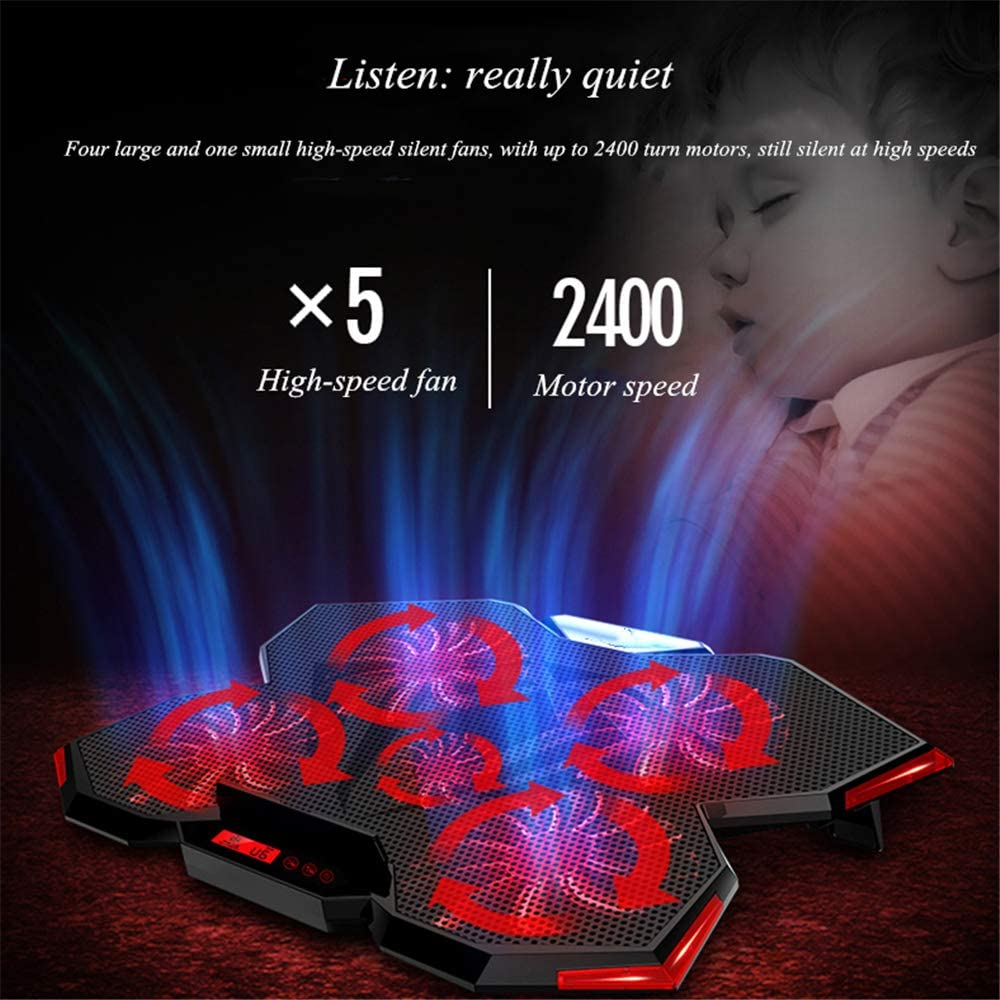 with 5 Rapid Action Cooling Fans at 2400 RPM Compatible 17 inches or Less Laptop KOUPA High Performance Gaming Laptop Cooling Pad
