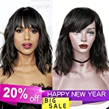 WIGNEE 100% Unprocessed with Bangs Brazilian Human Hair Natural Wave Wigs Natural Black