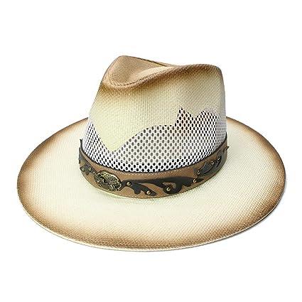 6359a74ee804f Hat- Sombrero de Paja Unisex para Hombre Playa de Malla Transpirable ala  Ancha de los
