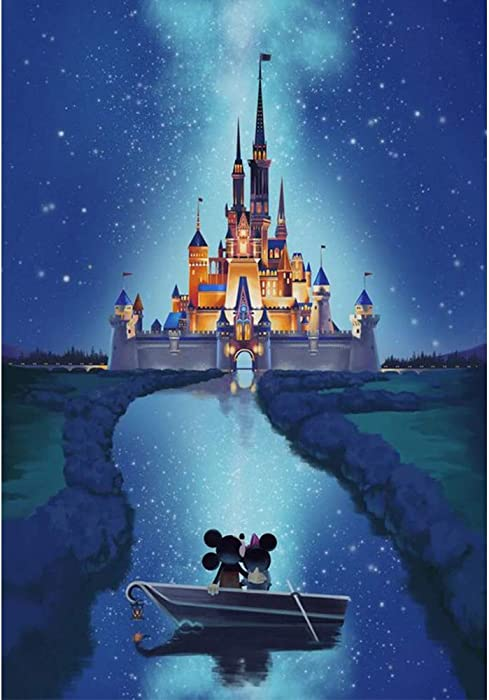 DIY 5D Diamond Painting by Number Kits, Crystal Rhinestone Diamond Embroidery Paintings Pictures Arts Craft for Home Wall Decor (Castle)