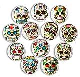 Pack-12 Skull Refrigerator Magnets, Death's Head