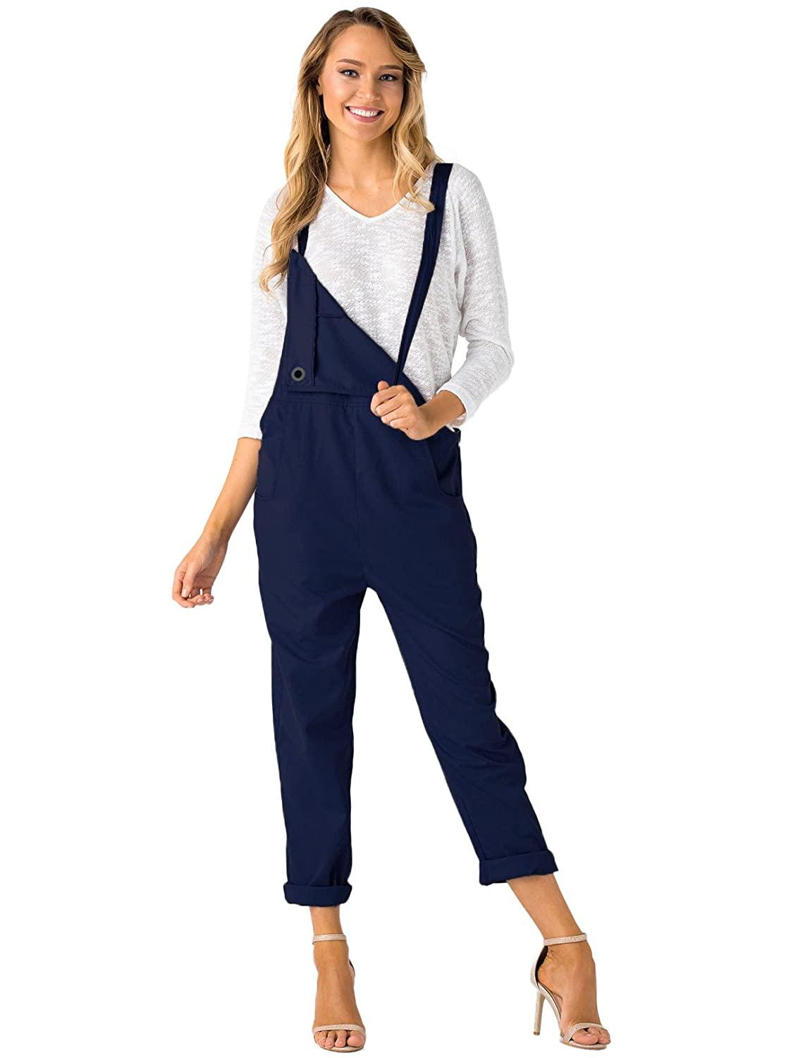 ab7c64c800e YOINS Overalls for Women Bib Baggy Denim Jumpsuit Adjustable Strap Loose  Romper at Amazon Women s Clothing store