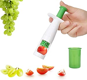 Grape Cutter, Tomato Cutter Fruit Vegetable Slicer, Multifunctional Creative Cut Tools for Salad Gadget and Baby Auxiliary Food, Plastic Shell Stainless Steel Blade Instant Cut for Steak Party Kitchen