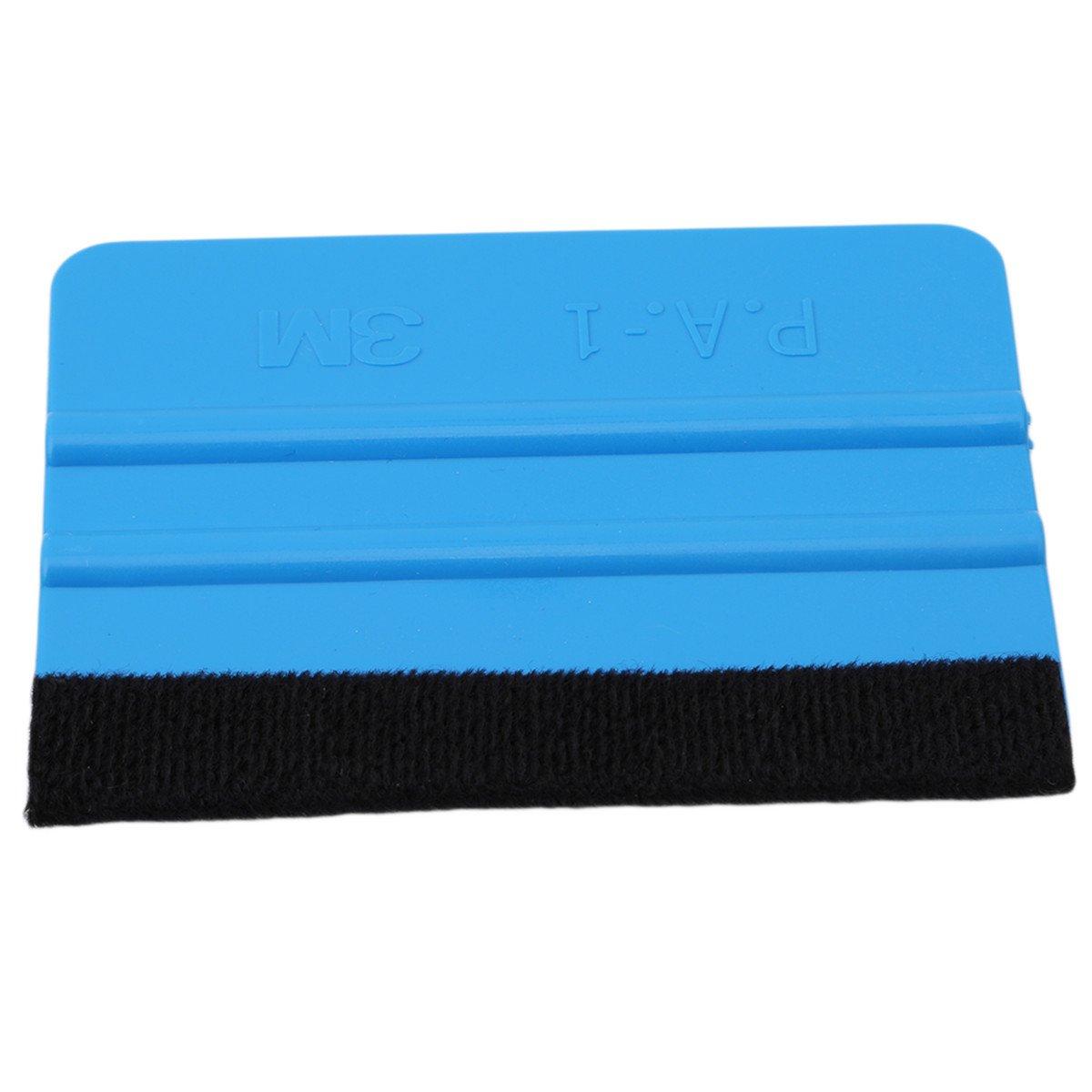 CH 3M Blue Red Felt Edge Squeegee Car Vinyl Wrap Application Tool Scraper Decal (Blue)