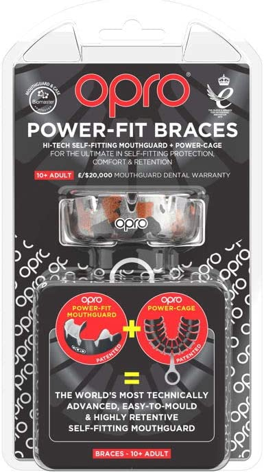 OPRO Power-Fit Braces Mouthguard Wrestling Gum Shield for Rugby Hockey 18 Month Dental Warranty and Other Combat and Contact Sports