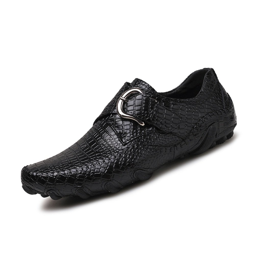Hombre Que Conduce el holgazán del Estilo Ocasional Cuero Genuino Crocodile-Striped Hebilla del Metal Jumbo Boat Shoes 47 EU|Negro
