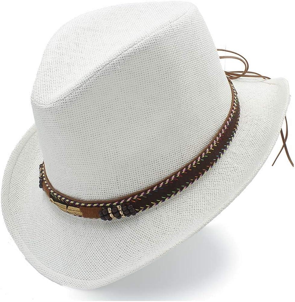 Cute Panama Sun Hat Raffia Hat Womens Jazz Straw Hat Leather Braided Breathable Sun Hats
