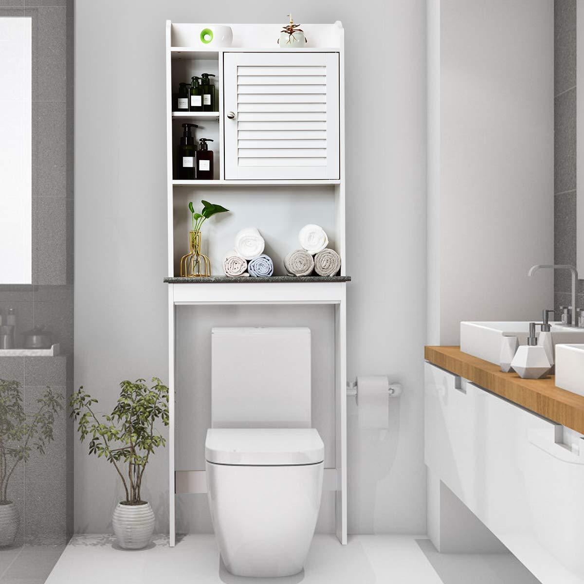 Giantex Over-The-Toilet Space Saver Collette Bathroom Spacesaver W/Storage Rack Cabinet Bathroom Organizer (68.5'' H) by Giantex