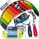 HQ Symphony Pro 2.5 Kite Rainbow Mega Tail Bundle (4 Items) + Prism 75ft Tube Tail + Peter Lynn Heavy Duty Padded Kite Control Strap Handles Pair + WindBone Kiteboarding Lifestyle Stickers