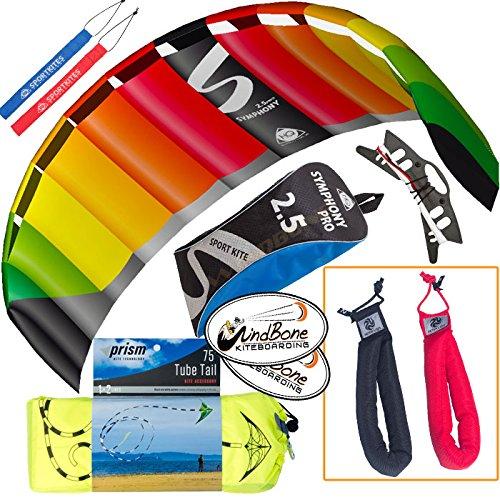 HQ Symphony Pro 2.5 Kite Rainbow Mega Tail Bundle (4 Items) + Prism 75ft Tube Tail + Peter Lynn Heavy Duty Padded Kite Control Strap Handles Pair + WindBone Kiteboarding Lifestyle Stickers by HQ Power Kites, Prism, Peter Lynn, WindBone (Image #9)