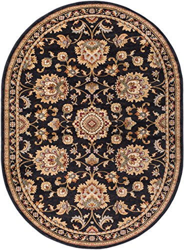 Charlotte Traditional Oriental Black Oval Area Rug, 7' x 10' Oval