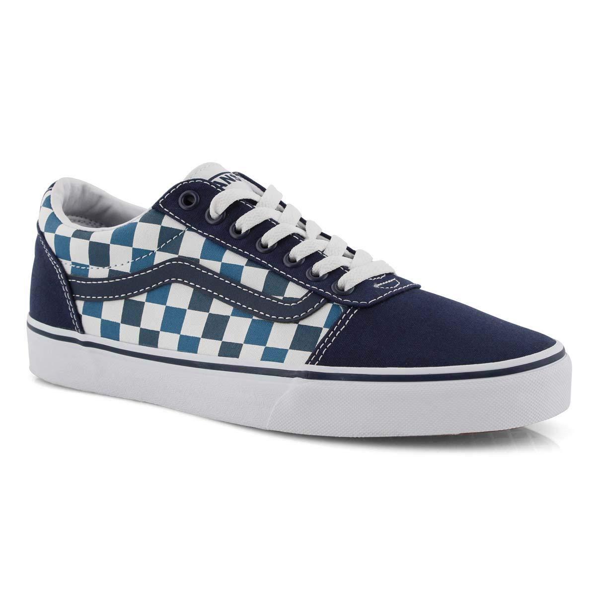 checkered vans blue