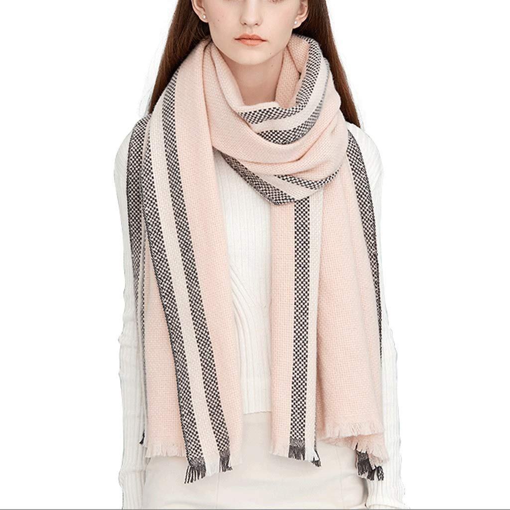 A WXL Fashion Scarf Shawl Both Uses Woman Thicken Keep Warm Fiber Large Size 200cm×65cm V (color   A)