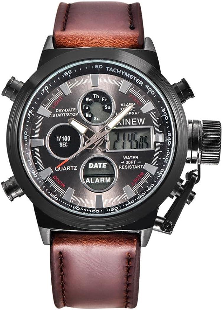 Yesmile Relojes❤️Reloj de Pulsera de Acero Inoxidable Analógico para Hombre Reloj Militar de Cuarzo LED Regalo