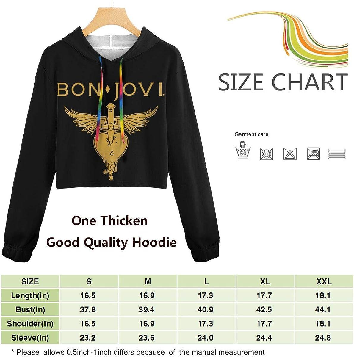 Womens Bon-Jovi Logo Long Sleeve Sweatshirt Hooded Girls Crop Top Hoodies