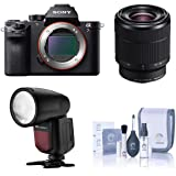 Sony a7R II Alpha Full Frame Mirrorless Digital Camera with FE 28-70mm f/3.5-5.6 OSS Lens - with Flashpoint Zoom Li-on X R2 TTL On-Camera Round Flash Speedlight, Cleaning Kit