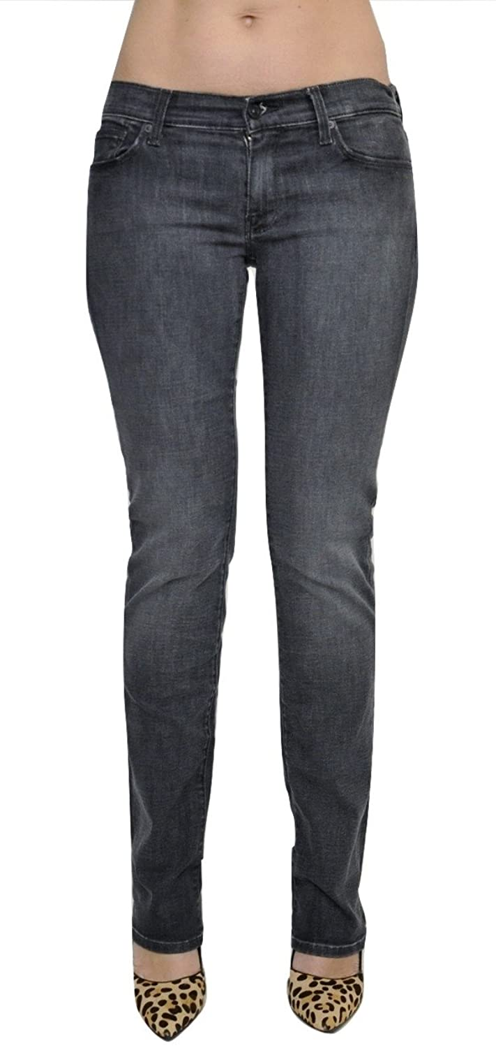 7 For All Mankind Straight Leg Studded Jeans Denim Pants Dusty Charcoal