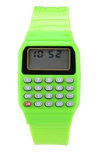 De Reloj reloj Sodial Verde r Multifuncion Jovenes Calculadora Ninos Y Electronico Silicona Para nmN80wOv