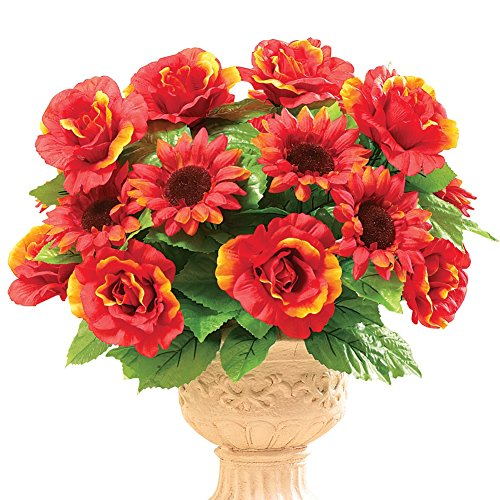 Autumn Mixed Bouquet Picks - Set Of 3, Shades Of Orang