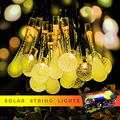 Solar Outdoor String Lights By Zeso 20ft 30 LED 15 Water Drop & 15 Crystal Waterproof Lights Christmas Lights Solar Powered String lights for Garden, Patio, Yard, Home, Christmas Tree, Parties