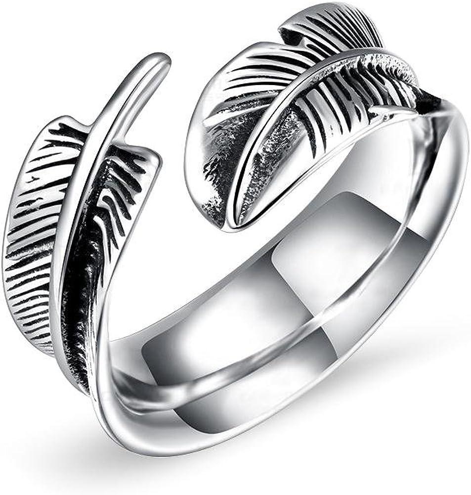 Anillo, Anillos de apertura de acero de titanio con forma de pluma, Joyas de dedo de moda para hombres, Anillos de apertura de acero de titanio con forma de pluma, 3 tamaños (8#)