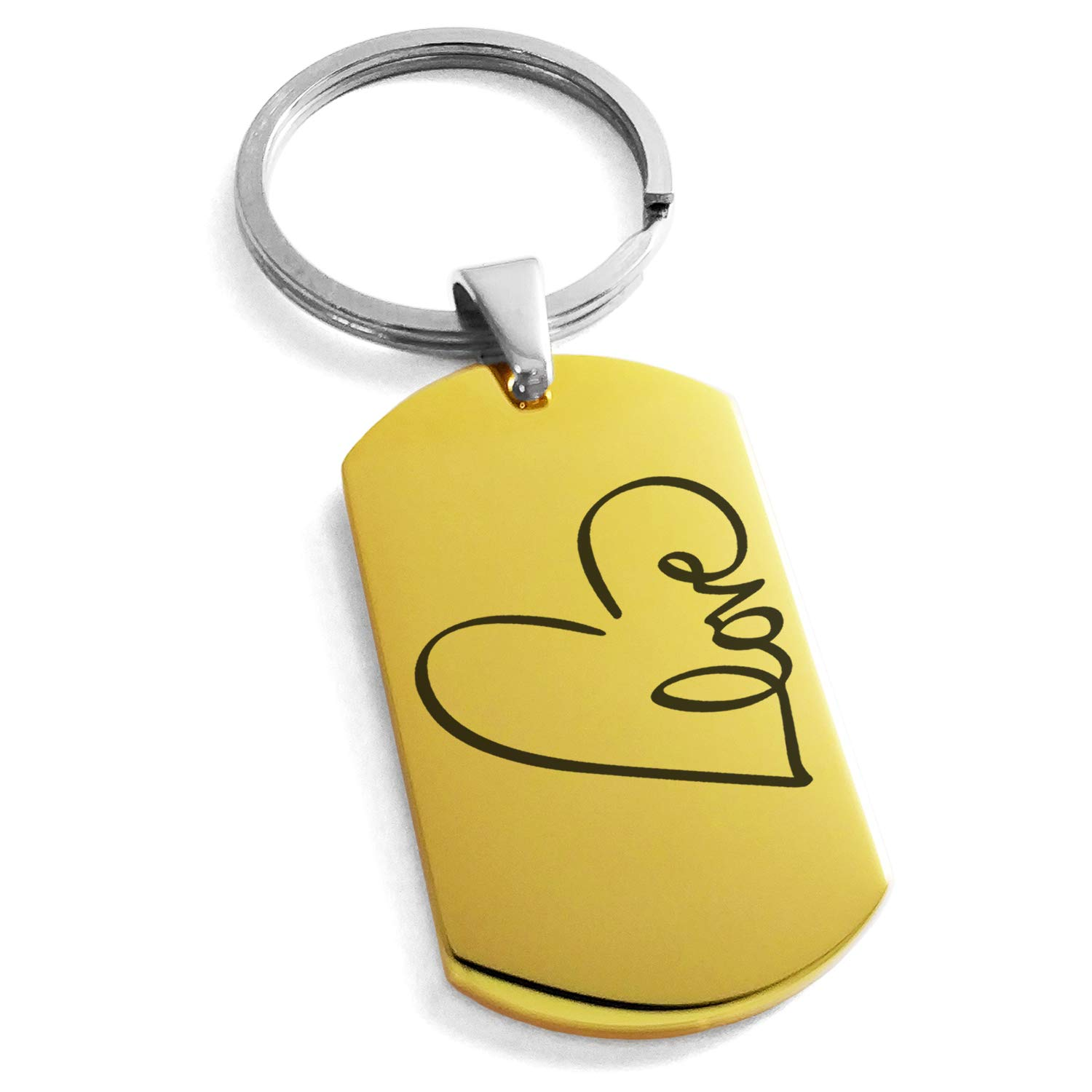 Tioneer Gold Plated Stainless Steel Love Heart Calligraphy Engraved Dog Tag Keychain Keyring