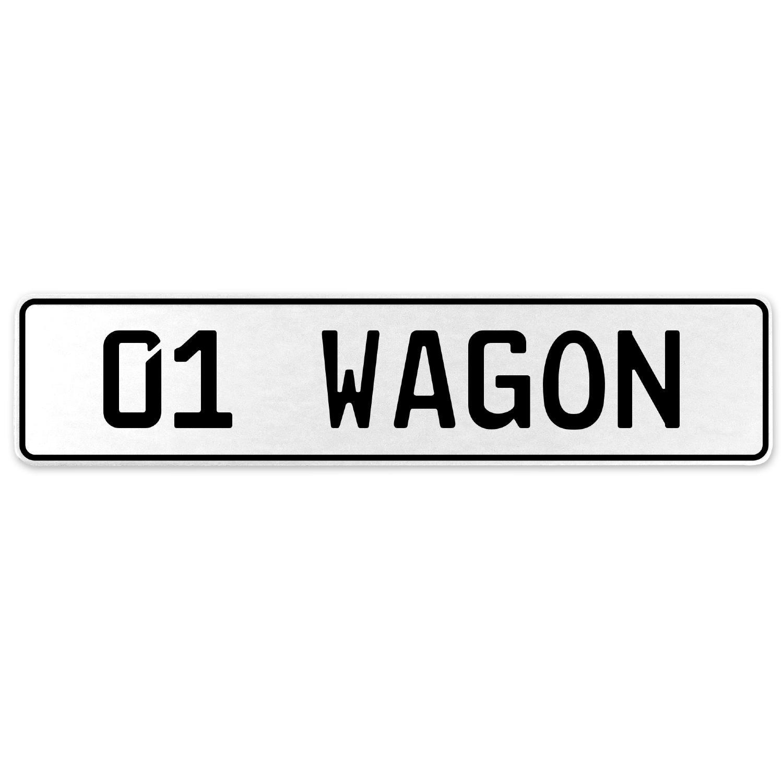 Vintage Parts 558162 01 Wagon White Stamped Aluminum European License Plate