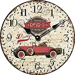 Yung Jo 10 Vintage Rustic Country Style ,Classic Cars Pattern Arabic Numerals Wooden Round Home Decorative Wall Clock (Red Car)