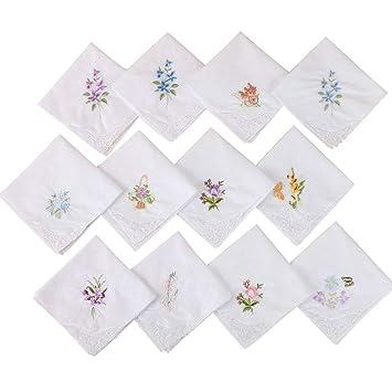 ecmqs pañuelo para mujeres - 3 piezas de base blanco pañuelo cuadrado flores bordadas bolsillo pañuelo mariposa encaje algodón baberos bebé toalla portátil ...
